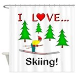 I Love Skiing Shower Curtain
