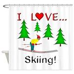 I Love Skiing Shower Curtain