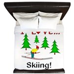 I Love Skiing King Duvet