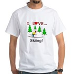 I Love Skiing White T-Shirt