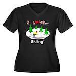 I Love Skiing Women's Plus Size V-Neck Dark T-Shir