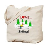 I Love Skiing Tote Bag