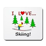 I Love Skiing Mousepad