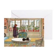 Flowers on the Windowsill by Carl La Greeting Card