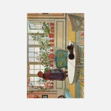 Flowers on the Windowsill by Carl Rectangle Magnet