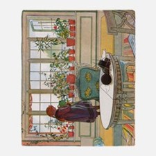 Flowers on the Windowsill by Carl La Throw Blanket