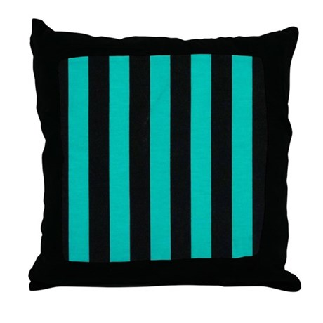 Black and Blue Stripe Throw Pillow by stripstrapstripes