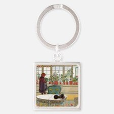 Flowers on the Windowsill by Carl  Square Keychain