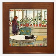 Flowers on the Windowsill by Carl Lars Framed Tile