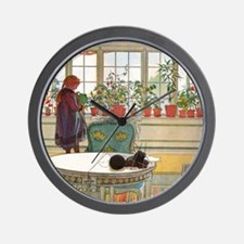 Flowers on the Windowsill by Carl Larss Wall Clock
