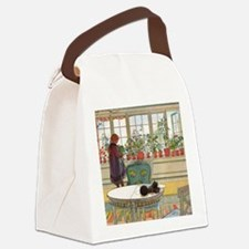Flowers on the Windowsill by Carl Canvas Lunch Bag