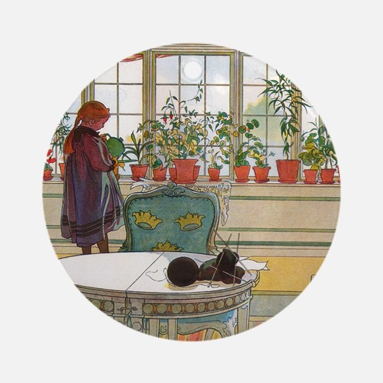 Flowers on the Windowsill by Carl L Round Ornament