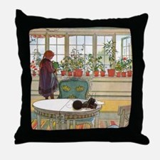 Flowers on the Windowsill by Carl Lar Throw Pillow