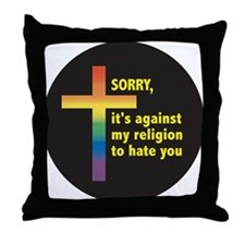 AGAINST RELIGION TO HATE Throw Pillow