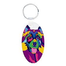 Purple Rainbow German Sheph Keychains