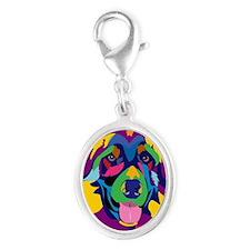 Purple Rainbow German Shepherd Silver Oval Charm