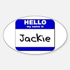 hello my name is jackie Oval Decal