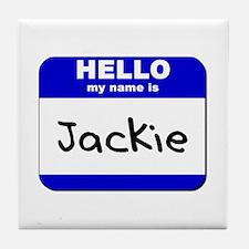hello my name is jackie  Tile Coaster