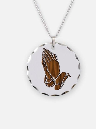 Dark Wood Pray Hands Necklace