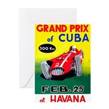 Vintage 1958 Cuban Grand Prix Race Poster Greeting