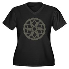 Bike chainri Women's Plus Size Dark V-Neck T-Shirt