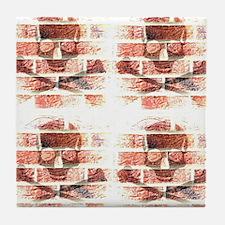 skull & crossbones brickwall blended Tile Coaster