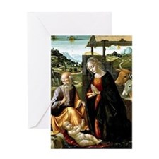 The Nativity, painting by Domenico G Greeting Card