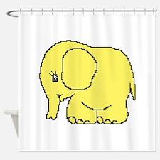 Funny cross-stitch yellow elephant Shower Curtain