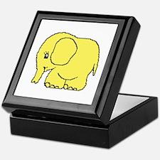Funny cross-stitch yellow elephant Keepsake Box