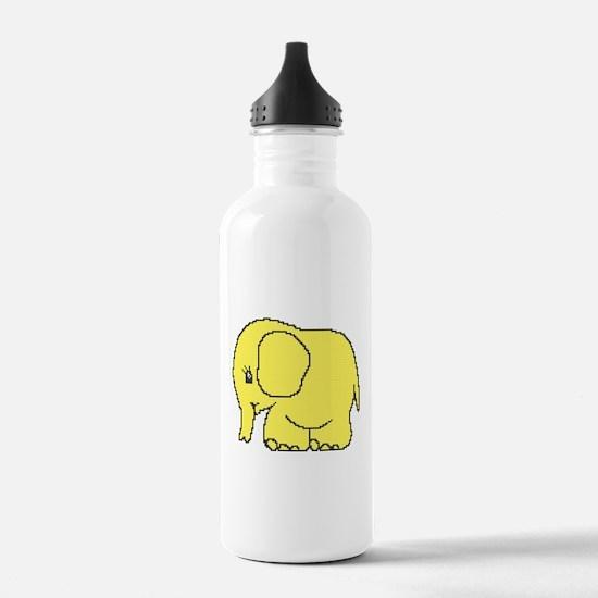 Funny cross-stitch yellow elephant Water Bottle