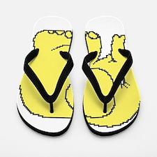 Funny cross-stitch yellow elephant Flip Flops