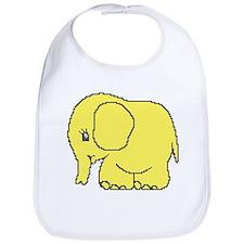 Funny cross-stitch yellow elephant Bib