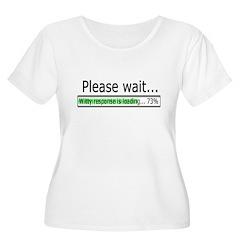 Please Wait Women's Plus Size Scoop Neck T-Shirt