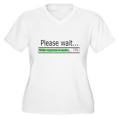 Please Wait Women's Plus Size V-Neck T-Shirt