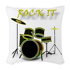 glowing drum-ROCK IT.png Woven Throw Pillow