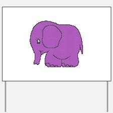 Funny cross-stitch purple elephant Yard Sign