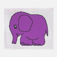Funny cross-stitch purple elephant Throw Blanket