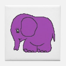 Funny cross-stitch purple elephant Tile Coaster