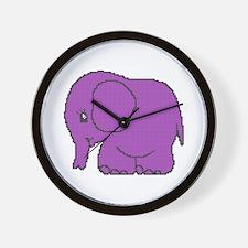 Funny cross-stitch purple elephant Wall Clock
