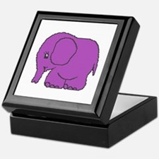 Funny cross-stitch purple elephant Keepsake Box