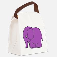 Funny cross-stitch purple elephant Canvas Lunch Ba