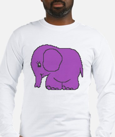 Funny cross-stitch purple elephant Long Sleeve T-S