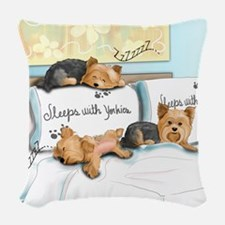 Sleeps with Yorkies Woven Throw Pillow