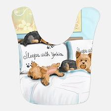 Sleeps with Yorkies Bib