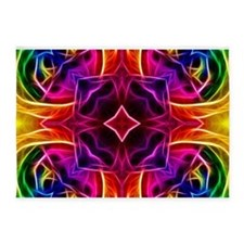Rainbow Rose Kaleidoscope 5'x7'Area Rug
