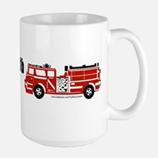 Still plays with fire trucks Large Mug