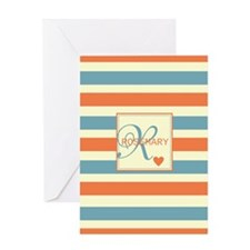 Bold Stripe & Monogram Personalized Greeting Card