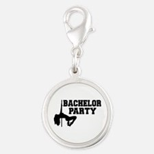 Bachelor Party girl Silver Round Charm