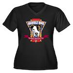 Brindle Bock Women's Plus Size V-Neck Dark T-Shirt
