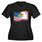 Bald Eagle Women's Plus Size V-Neck Dark T-Shirt